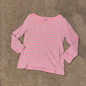 J Crew Women's Pink stripe long sleeve t-shirt, S
